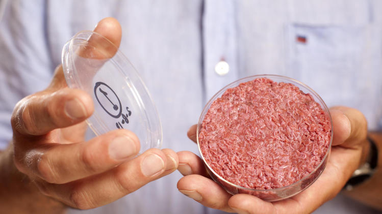 A new Cultured Beef Burger made from cultured beef grown in a laboratory from stem cells of cattle, is held by the man who developed the burger, Professor Mark Post of Netherland's Maastricht University, during a the world's first public tasting event for the food product in London, Monday Aug. 5, 2013. The Cultured Beef could help solve the coming food crisis and combat climate change according to the producers of the burger which cost some 250,000 euros (US dlrs 332,000) to produce. (AP Photo / David Parry, PA) UNITED KINGDOM OUT - NO SALES - NO ARCHIVES
