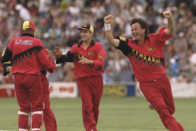 Nasser Hussain of England is out as Eddo Brandes of Zimbabwe collects a hat-trick