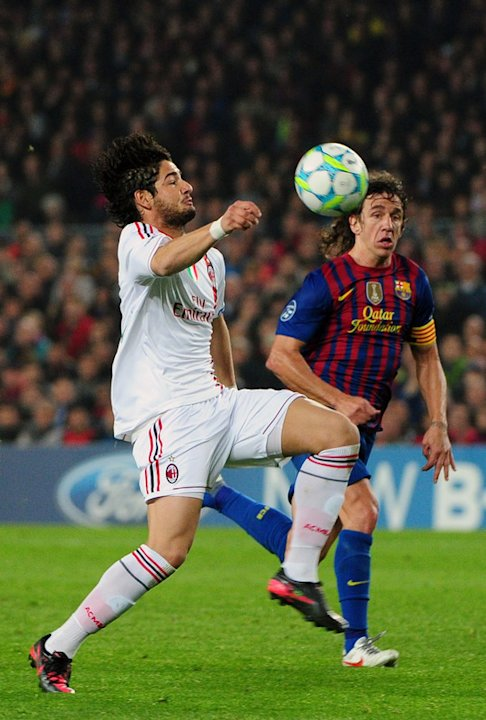 AC Milan's Brazilian Forward Pato (L) Fights AFP/Getty Images
