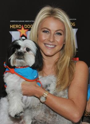 """Julianne Hough and a friend kick off the voting campaign for America's First Ever National """"Hero Dog Awards"""" at VA Medical Center - Manhattan in New York City on June 20, 2011  -- Getty Images"""
