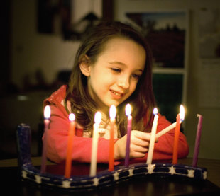 Lighting the menorah