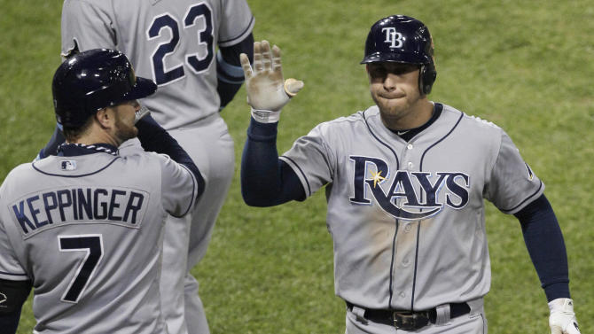 Tampa Bay Rays' Evan Longoria, right, celebrates with Jeff Keppinger after hitting a solo home run against the Chicago White Sox during the ninth inning of a baseball game in Chicago, Thursday, Sept. 27, 2012. The Rays won 3-2. (AP Photo/Nam Y. Huh)