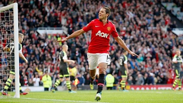 Javier Hernandez wheels away in delight after netting the winner against Stoke