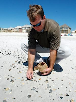 Brandon Franklin picks up a tar ball washed in by Tropical Storm Lee from amid shells at Gulf Shores, Ala., on Tuesday, Sept. 6, 2011. Franklin, coastal plans manager for the city, said the tar balls are suspected of being pieces of submerged tar mats left over from the BP oil spill in the Gulf of Mexico. Officials said Tuesday that they plan to test the black and brown globs to find out if they're related to last year's oil spill.   (AP Photo/Jay Reeves)