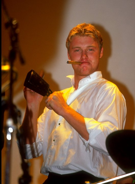 29 Sep 1999:  Andrew Flintoff of Lancashire and England helps with the band&amp;#39;s percussion at the PCA Awards Dinner held at the Royal Albert Hall, London.  &amp;#92; Mandatory Credit: Clive Mason /Allsp