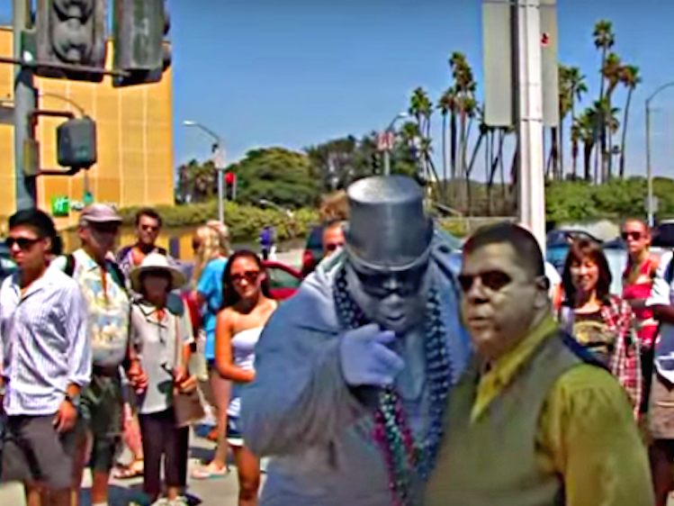 A Los Angeles performer who pretends to be a robot on the street earns up to $1,000 a day
