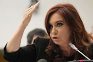 Argentina's President Cristina Fernandez de Kirchner speaks during a meeting at the United Nations headquarters in New York. Kirchner on Thursday demanded that Britain discuss sovereignty of the Falkland Islands at a stormy UN meeting on the 30th anniversary of the end of a war over the disputed territory