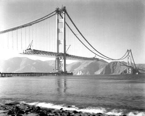 It was on November 18, 1936, that the two sections of the main span were joined in the middle. From the holdings of the Golden Gate Bridge, Highway and Transportation District, Used with Permission, www.goldengate.org
