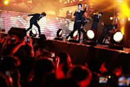 "Members of ""MBLAQ"", a K-pop band from South Korea, perform at the Music Bank K-pop festival concert in Hong Kong. Popular South Korean artists performed at Hong Kong's largest Korean pop concert as thousands of cheering fans came out to experience the star-studded performance"