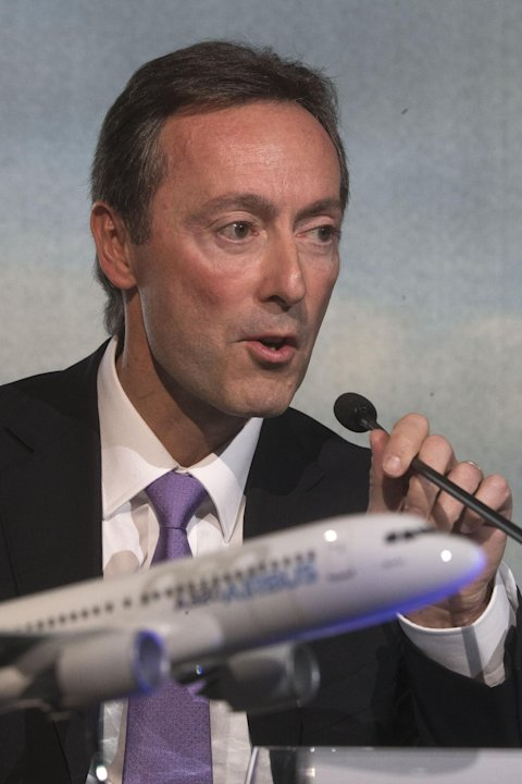 Airbus CEO Fabrice Bregier, speaks during the annual press conference for commercial results in Toulouse, southwestern France, Thursday, Jan. 17, 2013. Airbus says it delivered a record 588 aircraft l