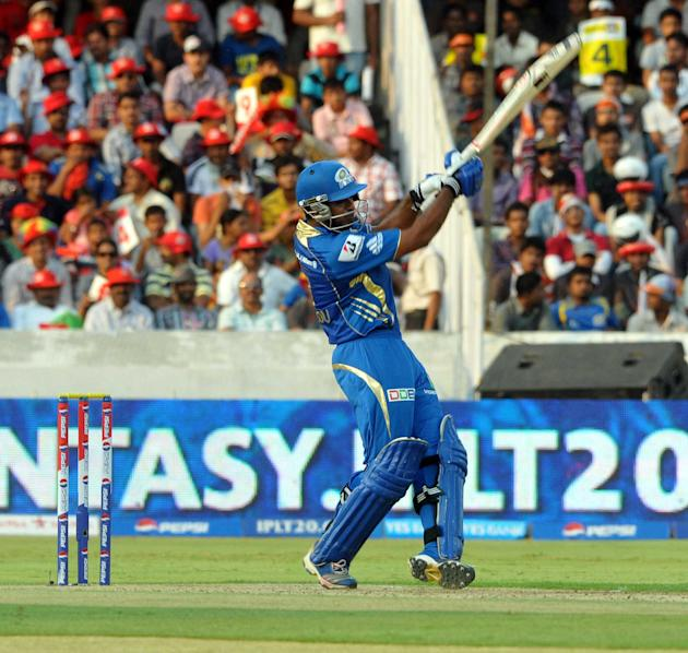 Kieron Pollard in action during the match between Mumbai Indians and Sunrisers Hyderabad at Rajiv Gandhi International Stadium, Uppal, Hyderabad on May 1, 2013. (Photo: IANS)
