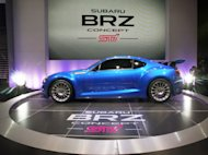 The Subaro BRZ concept car makes its debut at the Los Angeles Auto Show Wednesday, Nov. 16, 2011. (AP Photo/Reed Saxon)