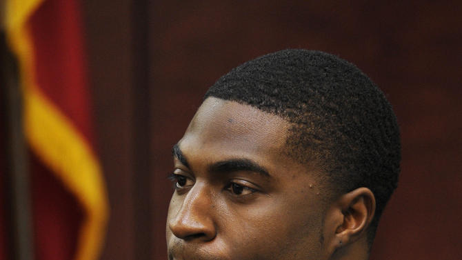 Cory Batey testifies in his own defense during his trial Monday, Jan. 26, 2015, in Nashville, Tenn.   Former Vanderbilt football players Batey and Brandon Vandenburg are standing trial on five counts of aggravated rape and two counts of aggravated sexual battery.  (AP Photo/Larry McCormack, Pool)