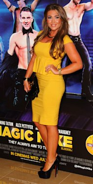 TOWIE's Lauren Goodger pops in yellow peplum at Magic Mike premiere