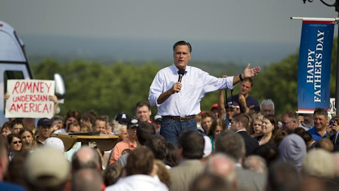 Republican presidential candidate, former Massachusetts Gov. Mitt Romney gestures during a campaign stop at Mapleside Farms on Sunday, June 17, 2012 in Brunswick, Ohio.  (AP Photo/Evan Vucci)