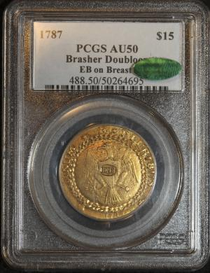 In a photo provided by Blanchard and Company, Inc., a rare 1787 gold Brasher doubloon, which sold for $7.4 million, one of the highest prices ever paid for a gold coin, is seen in New Orleans, Friday, Dec. 9, 2011. Blanchard and Co., the New Orleans-based coin and precious metals company that brokered the deal, said the doubloon was purchased by a Wall Street investment firm.  (AP Photo/Chris Baudot, Blanchard and Company, Inc.,)