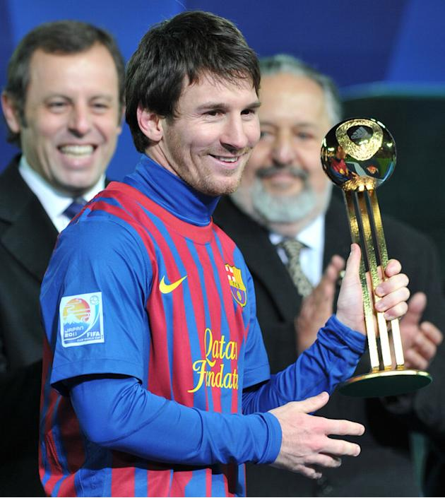 (FILES) A File Picture Taken On December 18, 2011 In Yokohama, Shows Barcelona Player Lionel Messi Holding The Adidas AFP/Getty Images