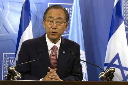 U.N. Secretary General Ban speaks during a joint news conference at the Defence Ministry in Tel Aviv