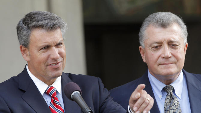 Los Angeles City Attorney Carmen Trutanich, right, stands with Glen Jonas, attorney for the two injured women, during a news conference to announce a city settlement with Margie Carranza and Emma Hernandez, who were wounded by LAPD during the hunt for rogue ex-cop Christopher Dorner, Tuesday April 23, 2013 in Los Angeles. The city of Los Angeles reached a $4.2 million settlement on injury claims by two women who were hurt when police mistakenly opened fire on them during a manhunt.   (AP Photo/Nick Ut)