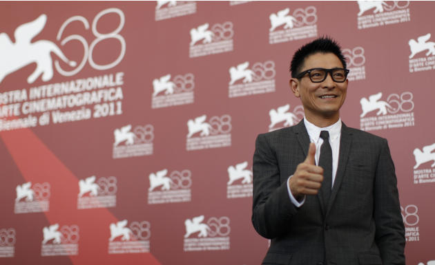 Actor Andy Lau poses during the photo call for the movie A Simple Life  at the 68th edition of the Venice Film Festival in Venice, Italy, Monday, Sept. 5, 2011. (AP Photo/Andrew Medichini)