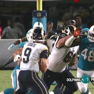Miami Dolphins linebacker Jelani Jenkins sacks St. Louis Rams quarterback Austin Davis for -8 yards