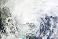 NASA's Terra satellite captured this image of Hurricane Sandy as it slowly left the Bahamas on Oct. 26.