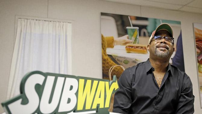 IMAGE DISTRIBUTED FOR SUBWAY® - Darius Rucker hangs out in the SUBWAY® Green Room before his interview with ESPN's Mike and Mike in the Morning Thursday, Jan. 29, 2015, in Scottsdale, Arizona. (Photo by Jack Dempsey/Invision for SUBWAY®/AP Images)