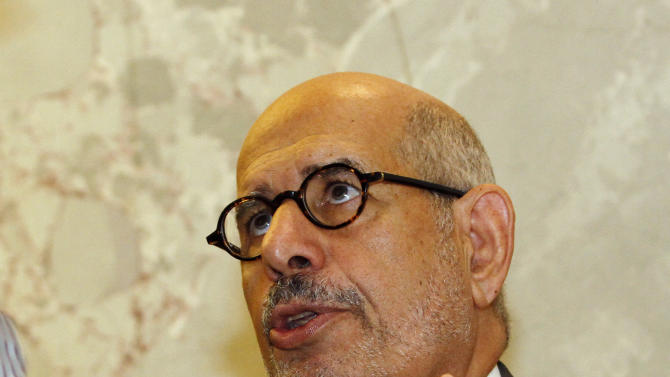 """Former Director General of the International Atomic Energy Agency, IAEA, and Nobel Peace Prize winner Mohamed El Baradei speaks to media in Vienna, Austria, Thursday May 24, 2012. As Egyptians chose their first democratically elected president, reform leader ElBaradei says who wins is less important than establishing national unity. He told The Associated Press that choice between reformist, Islamist or pragmatist pales behind getting Egyptians to agree """"on the basic common values that they're going to live under."""" (AP Photo/Ronald Zak)"""