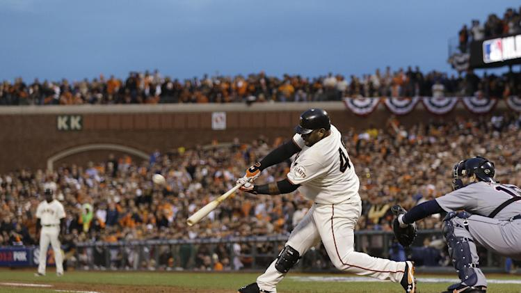 San Francisco Giants' Pablo Sandoval hits a two-run home run during the third inning of Game 1 of baseball's World Series against the Detroit Tigers Wednesday, Oct. 24, 2012, in San Francisco. (AP Photo/Marcio Jose Sanchez)