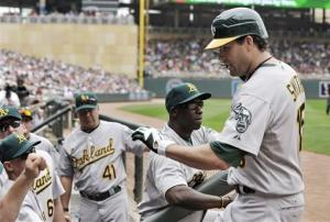 Athletics sweep Twins with 9-4 victory