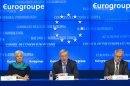 IMF Managing Director Lagarde, Luxembourg's PM and Eurogroup chairman Juncker and European Economic and Monetary Affairs Commissioner Rehn address joint news conference in Brussels