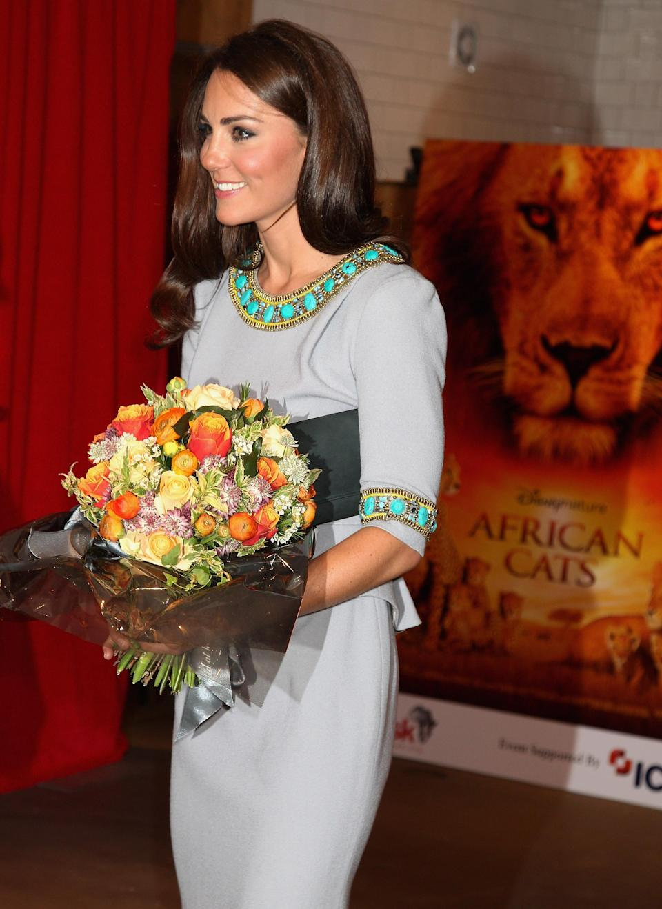 The Duchess of Cambridge attends the UK Premiere of 'African Cats' at BFI Southbank  Wednesday April 25, 2012 in London, England.  (AP Photo/Chris Jackson, Pool)