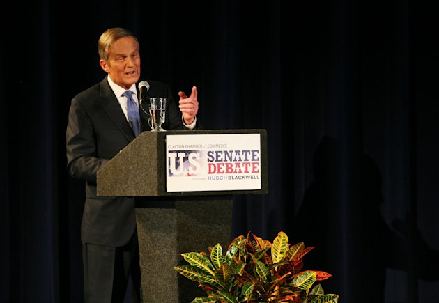 Republican Rep. Todd Akin speaks as he takes on Democratic Sen. Claire McCaskill during the second debate in the Missouri Senate race Thursday, Oct. 18, 2012, in Clayton, Mo. (AP Photo/Emily Rasinski)