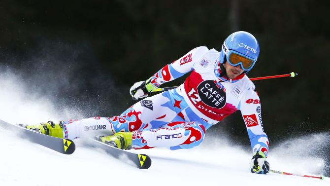 Missillier of France clears a gate during the men's World Cup Giant Slalom skiing race in Alta Badia