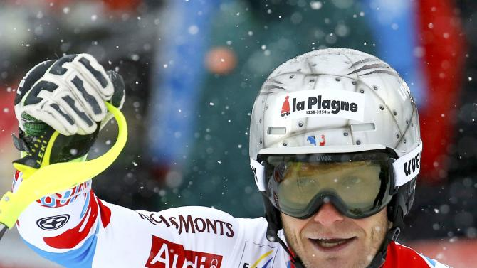 Lizeroux of France reacts after men's Alpine Skiing World Cup slalom in Kitzbuehel