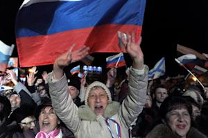 Pro-Russian Crimeans celebrate in Sevastopol on March …