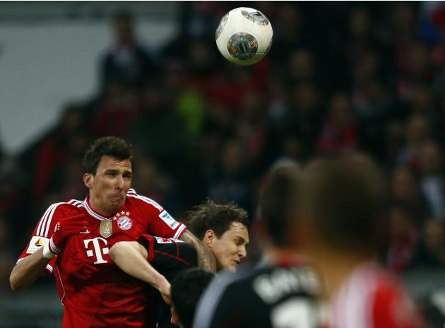 Munich's Mandzukic scores during their German first division Bundesliga soccer match against Leverkusen in Munich