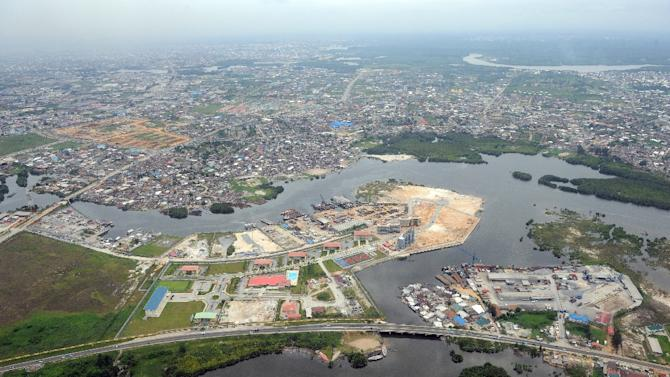 File picture dated on April 14, 2009 shows an aerial view of Port Harcourt in Nigeria's River State, the commercial capital Niger Delta