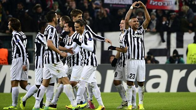 Vidal celebrates his hat-trick for Juventus (AFP)