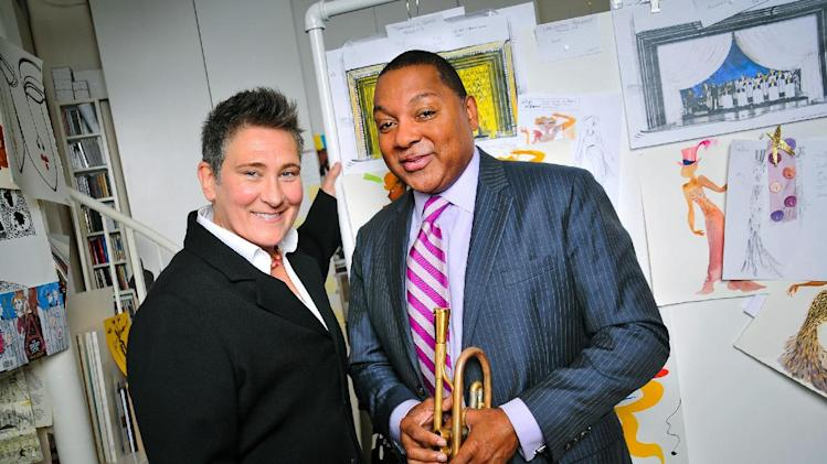 "This Sept. 7, 2013 photo released by the O&M Co. shows k.d. lang, left, and Wynton Marsalis in New York. Lang will take over from Fantasia Barrino as the second star vocalist in ""After Midnight,"" a musical celebrating Duke Ellington's years at the famous Cotton Club nightclub in Harlem. Lang starts performances Feb. 11 and will end her run March 9. (AP Photo/The O&M Co., Jenny Anderson)"