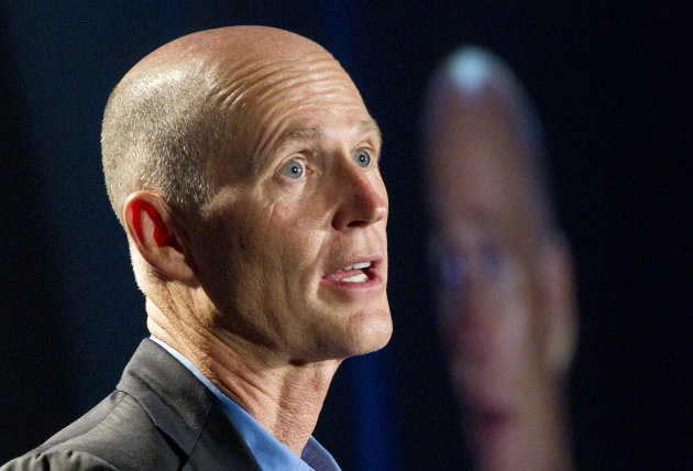 "<p>               FILE - In this May 16, 2012 file photo, Florida Gov. Rick Scott speaks in Fort Lauderdale. Florida Gov. Rick Scott, long opposed President Barack Obama's remake of the health insurance market. After President Obama won re-election, the Republican governor softened his tone. He said he wanted to ""have a conversation"" with the administration about implementing the 2010 law.   (AP Photo/J Pat Carter, File)"