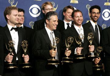"Jon Stewart and writers, winners - Outstanding Variety, Music or Comedy Series and Outstanding Writing for ""The Daily Show with Jon Stewart"" 57th Annual Emmy Awards Press Room - 9/18/2005"