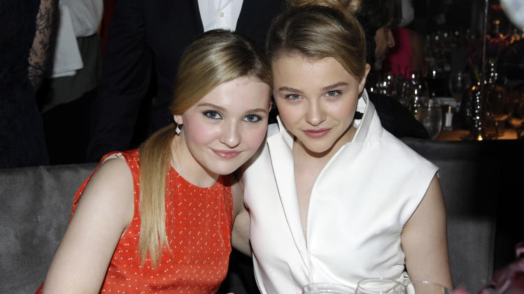 Actresses Abigail Breslin, left, and Chloe Grace Moretz pose together at the 18th Annual ELLE Women in Hollywood celebration in Beverly Hills, Calif., Monday, Oct. 17, 2011.  The dinner celebrates women's achievements in film. (AP Photo/Matt Sayles)