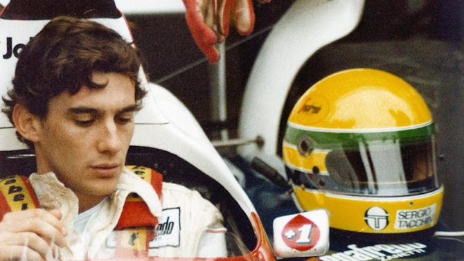 "FILE - In this file photo released by Universal Pictures, Ayrton Senna is shown in a scene from the film ""Senna."" (AP Photo/Universal Pictures, File)"