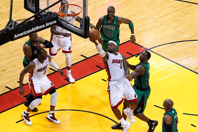 LeBron James #6 Of The Miami Heat Drives Getty Images