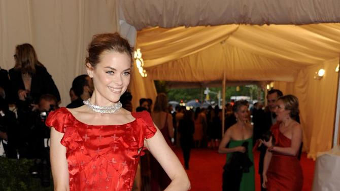 Jamie King arrives at the Metropolitan Museum of Art Costume Institute gala benefit, celebrating Elsa Schiaparelli and Miuccia Prada, Monday, May 7, 2012 in New York. (AP Photo/Evan Agostini)