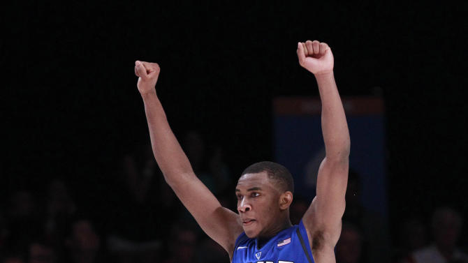 Duke guard Rasheed Sulaimon (14) reacts after defeating Louisville 76-71 in an NCAA college basketball game to win the Battle 4 Atlantis tournament, Saturday, Nov. 24, 2012 in Paradise Island, Bahamas. (AP Photo/John Bazemore)