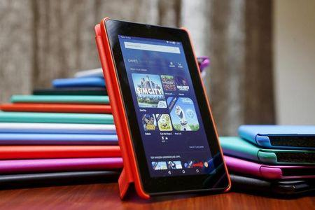 The new Amazon Fire tablet is displayed during a media event introducing new Amazon products in San Francisco, California