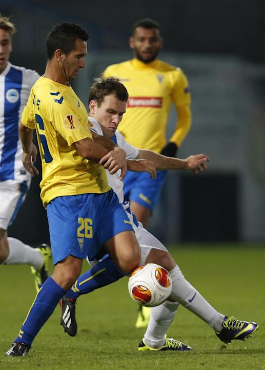 Michael Rabusic, right, of Slovan Liberec challenges Ruben Fernandes, left, of Estoril Praia during their Europa League Group H soccer match in Liberec, Czech Republic, Thursday, Oct. 3, 2013