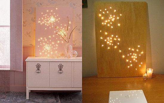 Make wall art using fairy lights with this DIY.